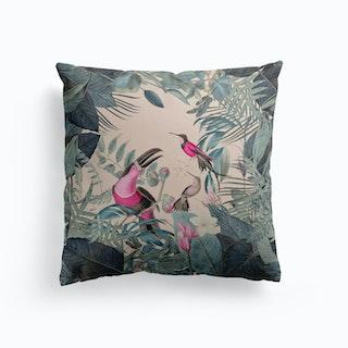Pink Tropical Toucans Cushion