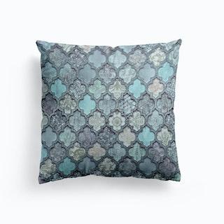 Morrocan Tiles Teal Blue Cushion