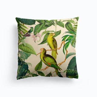 Green Jungle Parakeets Cushion