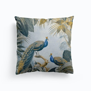 Fantastic Peacock Kings Gold Blue Cushion