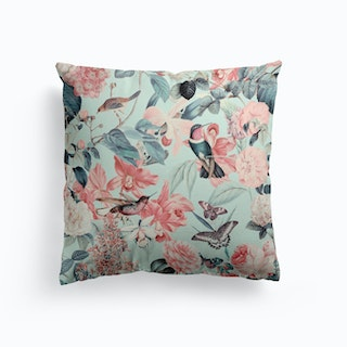 Tropical Garden With Birds Cushion
