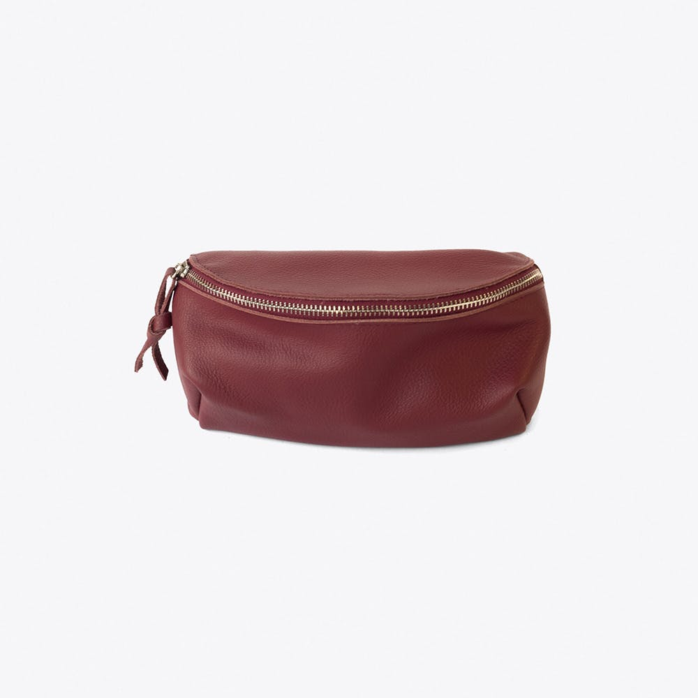 Leather Bumbag in Cherry