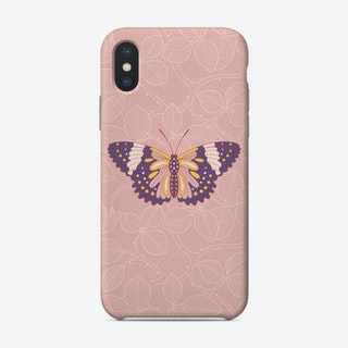 Butterfly In Pink Background From Rose Phone Case