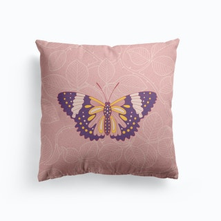 Butterfly In Pink Background From Rose Cushion