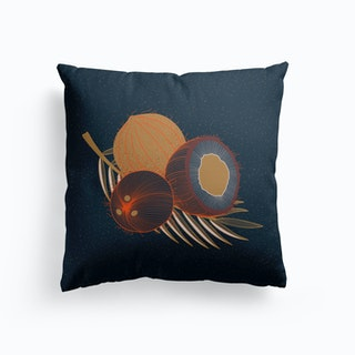 Coconuts And Coconut Tree Branch Cushion