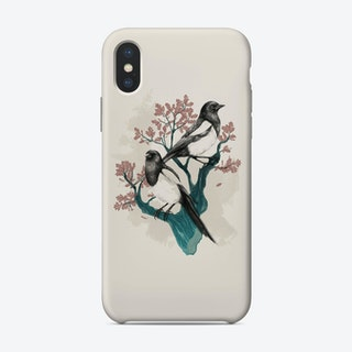 Magpies On Oak Phone Case