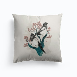 Magpies On Oak Cushion