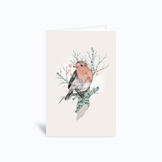 Robin On Birch Greetings Card