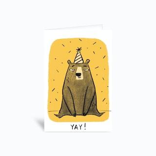 Yay Bear Greetings Card