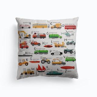 Transportation Alphabet Canvas Cushion