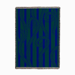 Sanur Ropes Dark Green Navy Woven Throw