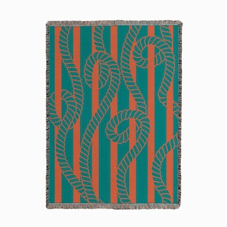 Sanur Ropes Green Orange Woven Throw