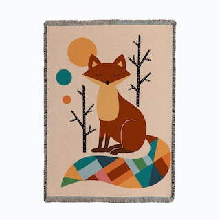 Rainbow Fox Woven Throw