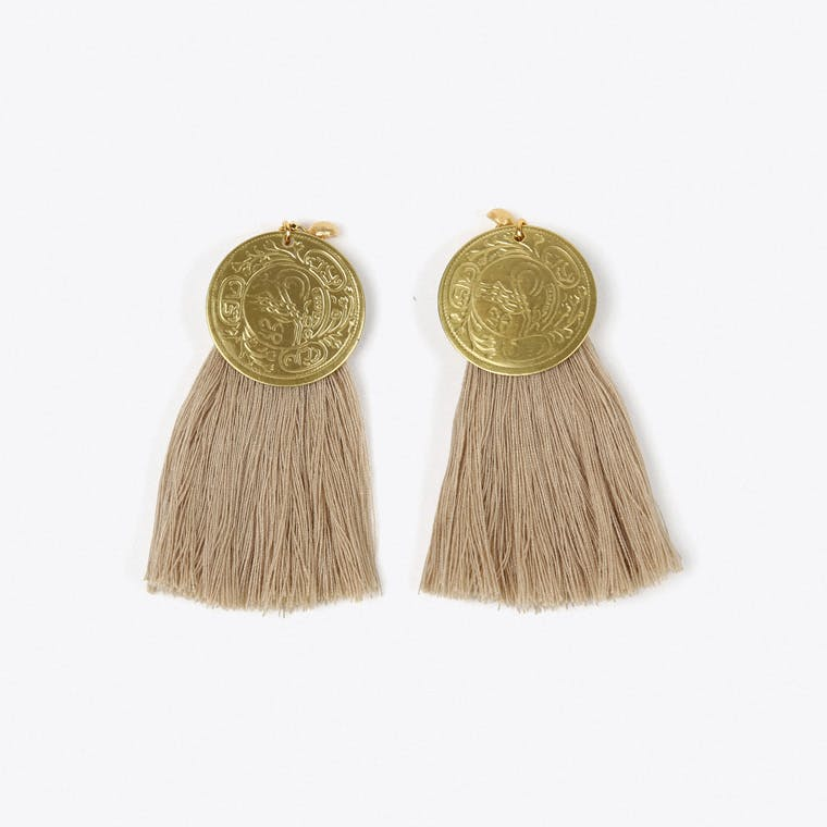 Nairobi Tassel Earrings in Beige