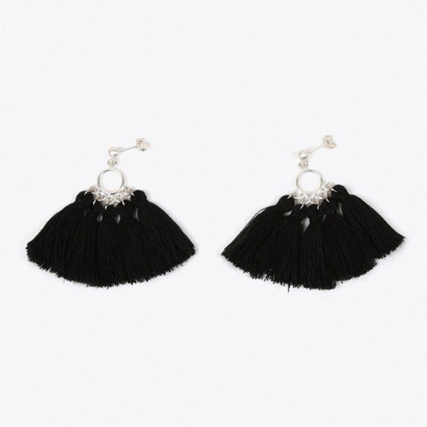 Mombasa Multi Tassel Earrings in Black