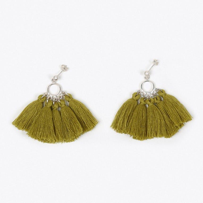 Mombasa Multi Tassel Earrings in Lime