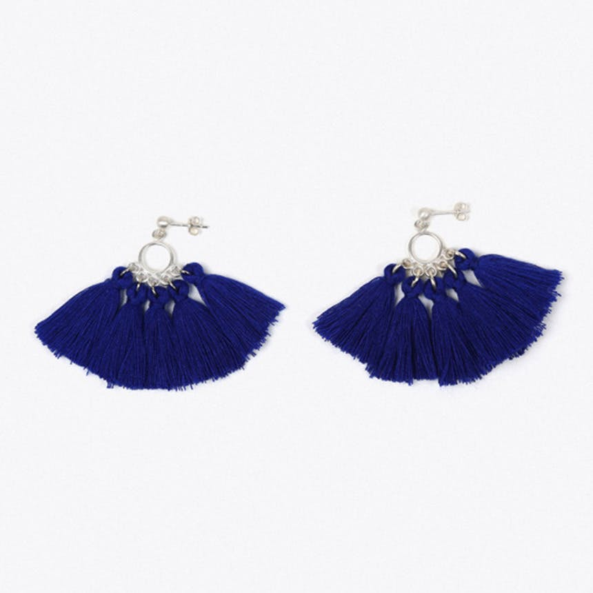 Mombasa Multi Tassel Earrings in Blue