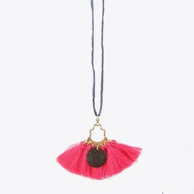 #5 Grey with Fuchsia Tassels Necklace