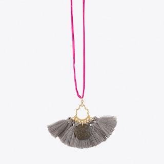 #8 Fuchsia with Grey Tassels Necklace