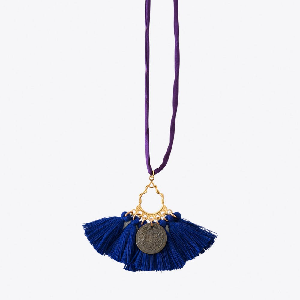 #10 Purple with Bright Blue Tassels Necklace