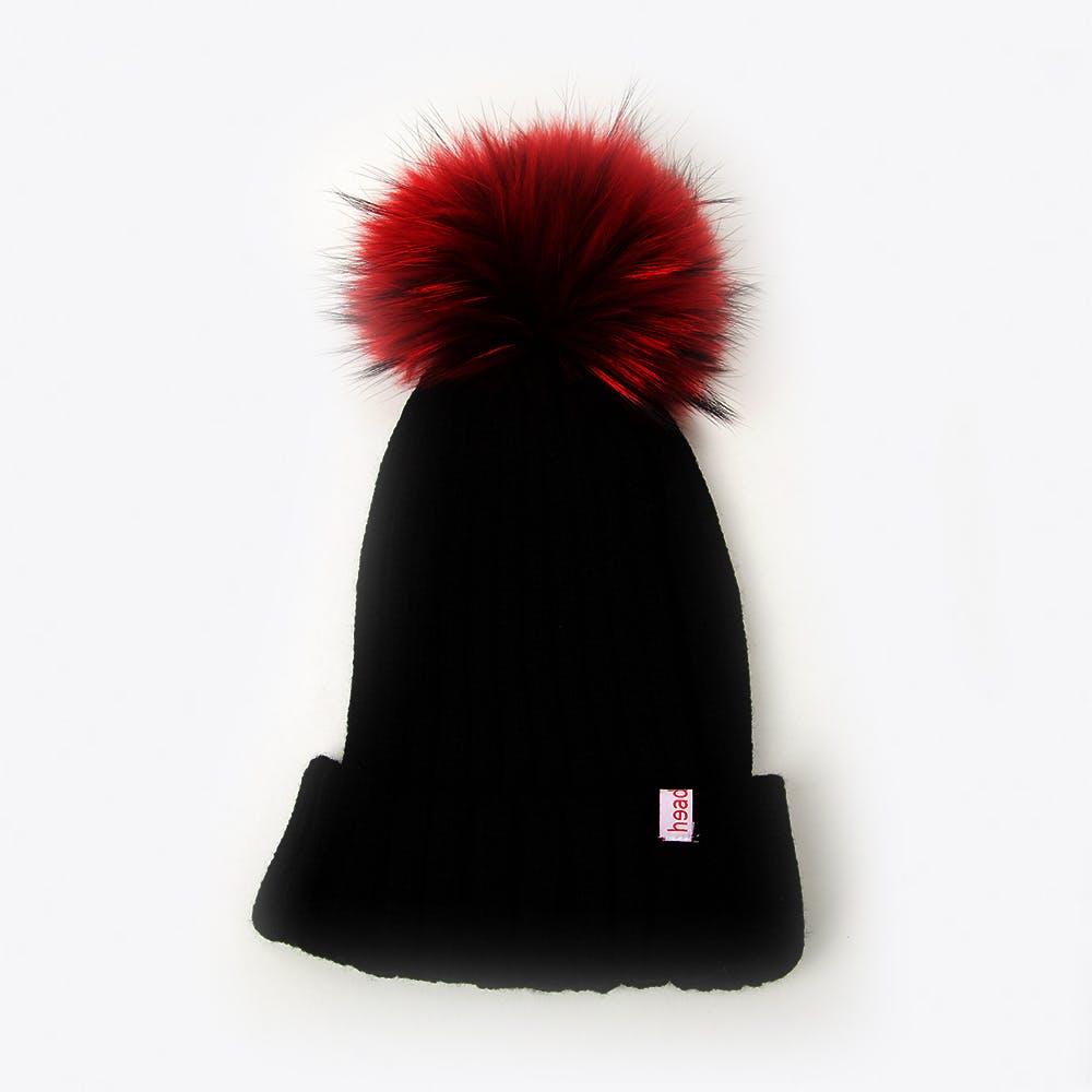 Pompom Beanie in Black with Red Pompom