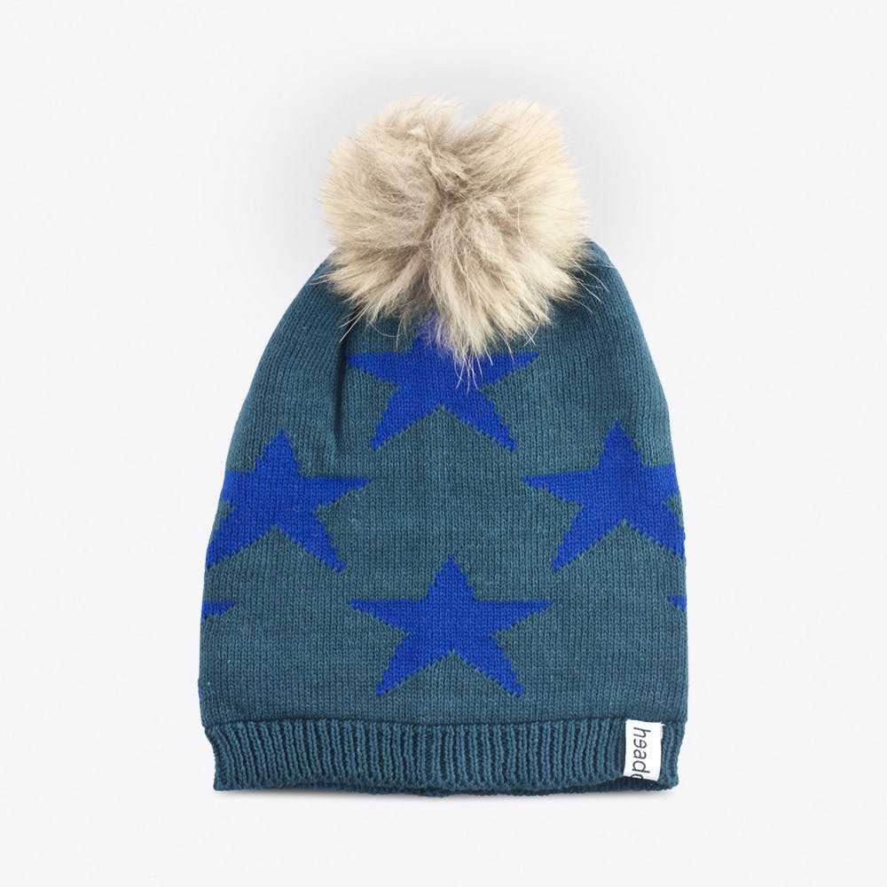Petrol Star Beanie with Pompom