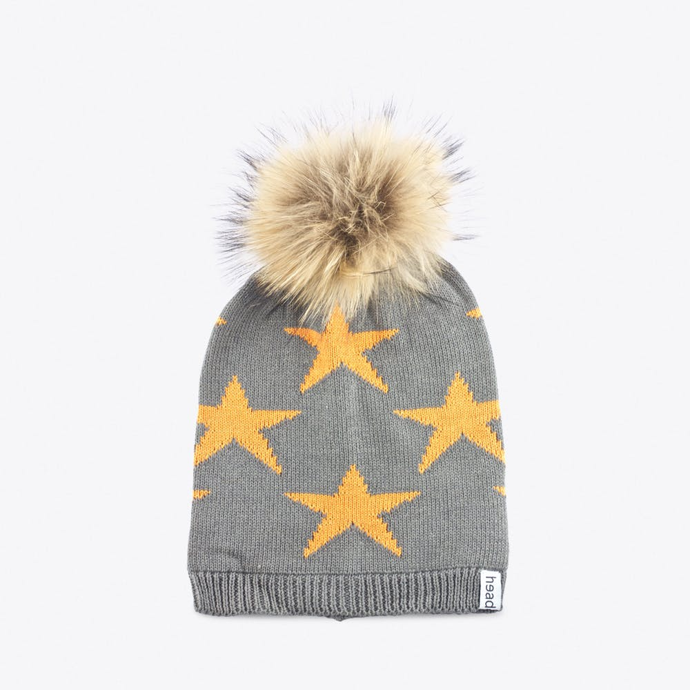 Orange Star Beanie with Pompom