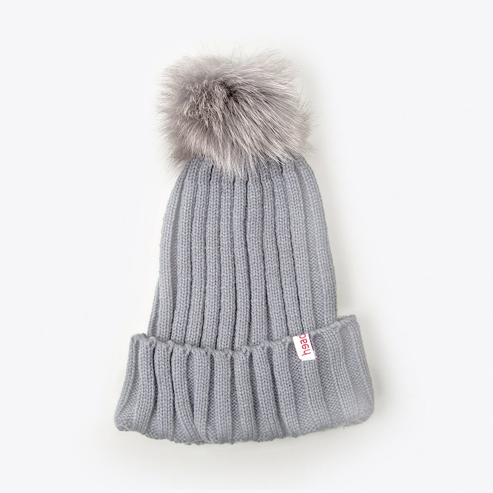 Pompom Beanie in Grey