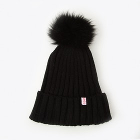Pompom Beanie in Black