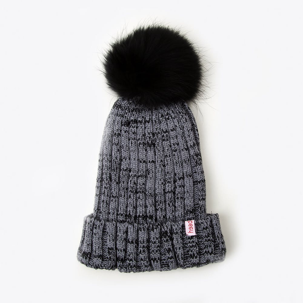 Pompom Beanie in Grey Melange
