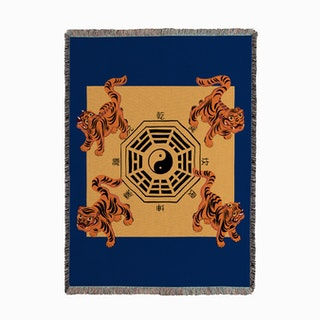 Bagua Tigers Blue Woven Throw