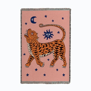 Tiger temple Pink Small Woven Throw