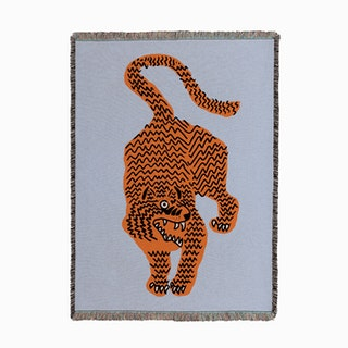 Tiger Blue Woven Throw