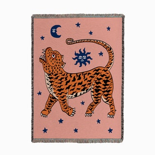 Tiger Temple Pink Woven Throw
