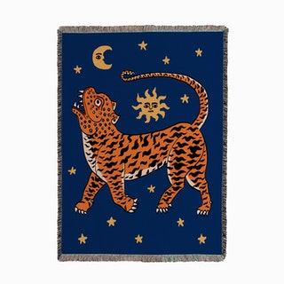 Tiger Temple Blue Woven Throw