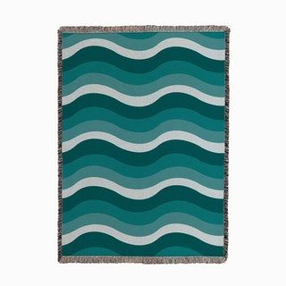 Waves Teal Woven Throw