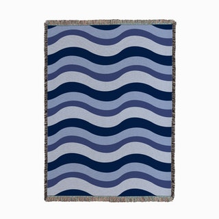 Waves Blue Woven Throw