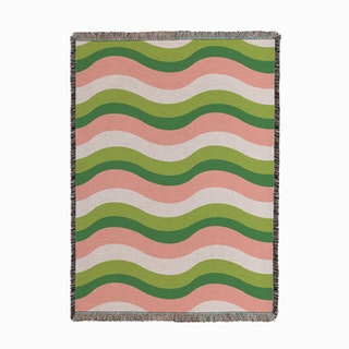 Waves Green Woven Throw