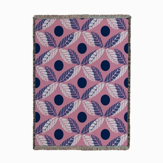 Floral Leaves Lilac Woven Throw