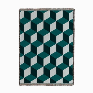Cube Teal Woven Throw