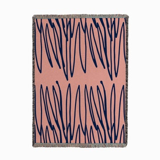Doodle Pink Blue Woven Throw