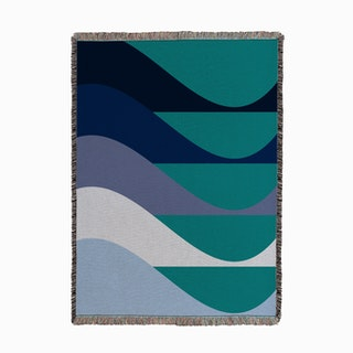 Mod Waves Teal Woven Throw
