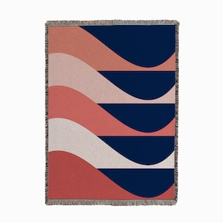 Mod Waves Pink Woven Throw