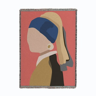 Girl With The Pearl Earring Pink Woven Throw