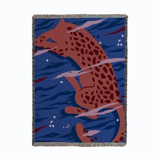 Swimming Leopard Woven Throw