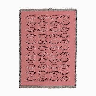 Eyes Pattern Pink Woven Throw