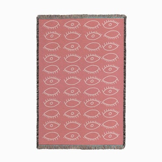 Eyes Pattern Pink White Small Woven Throw