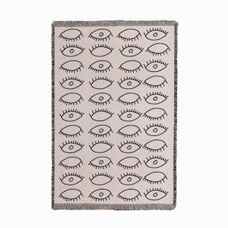 Eyes Pattern White Small Woven Throw