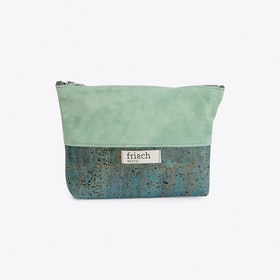 Makeup Bag in Cork and Mint