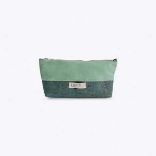 Long Make Up Bag in Cork and Mint